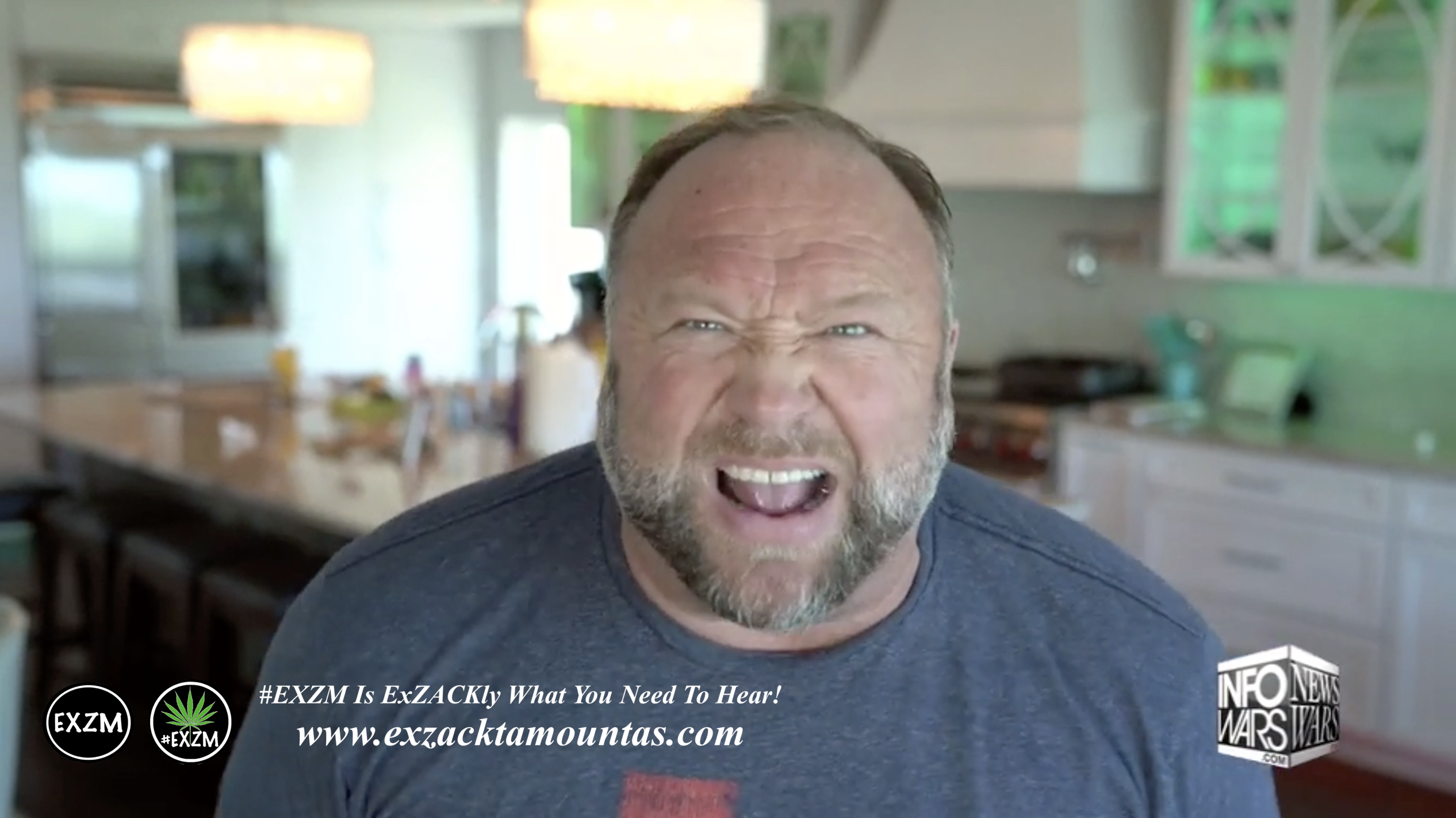 Alex Jones Live House Kitchen not Infowars Studio EXZM Zack Mount May 17th 2021 copy