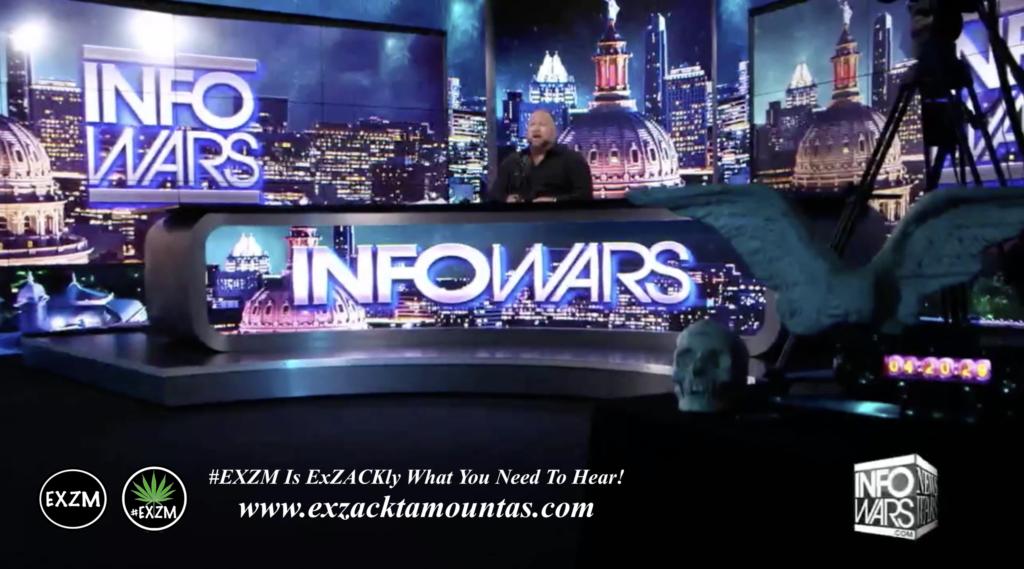 Alex Jones Live In Infowars Studio Human Skull Angel Wings EXZM Zack Mount May 23rd 2021 copy