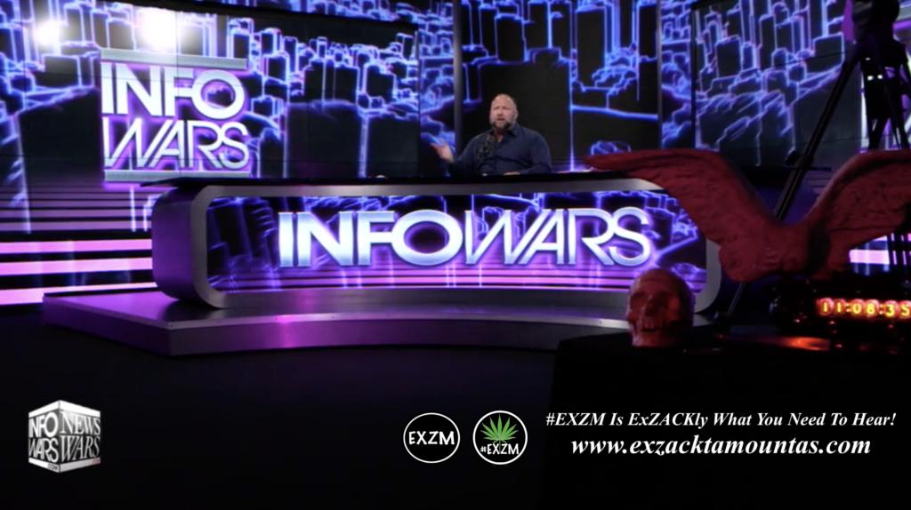 Alex Jones Live In Infowars Studio Human Skull Angel Wings EXZM Zack Mount May 26th 2021 copy