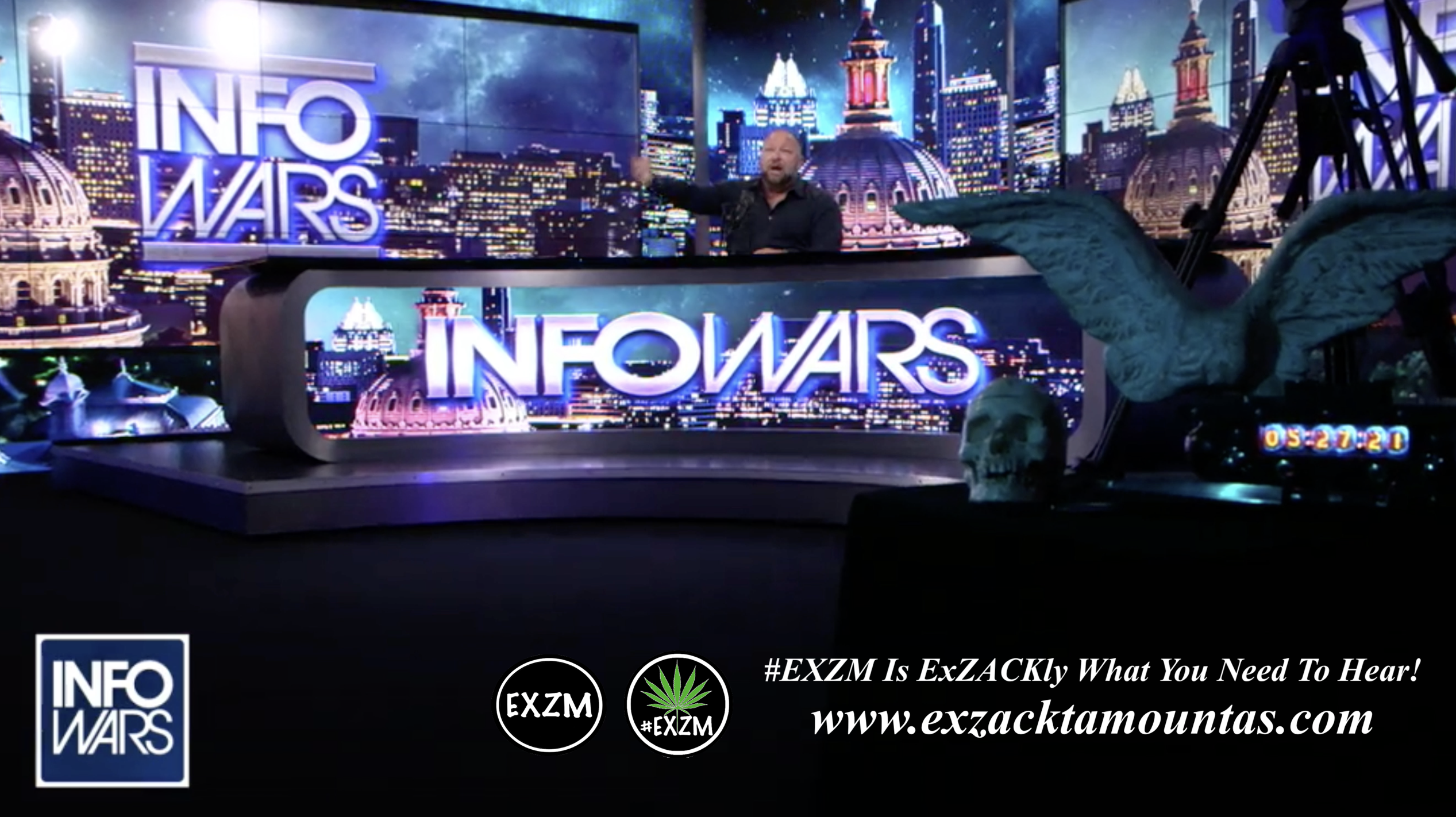 Alex Jones Live In Infowars Studio Human Skull Angel Wings EXZM Zack Mount May 27th 2021 copy