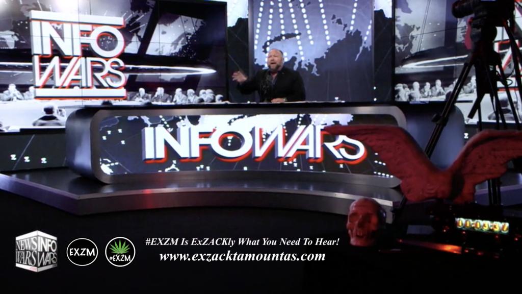 Alex Jones Live In Infowars Studio Human Skull Angel Wings EXZM Zack Mount May 28th 2021 copy
