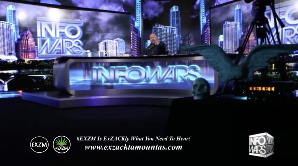 Alex Jones Live Infowars Studio Human skull Angel Wings EXZM Zack Mount May 5th 2021 copy