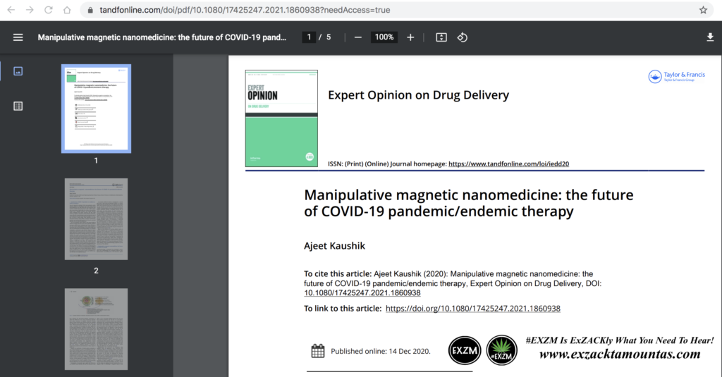Manipulative magnetic nanomedicine the future of COVID19 pandemic endemic therapy pdf EXZM Zack Mount May 13th 2021