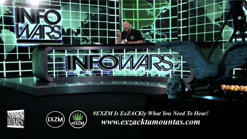 Alex Jones Live In Infowars Studio Human Skull Angel Wings Dagger EXZM Zack Mount June 2nd 2021 copy