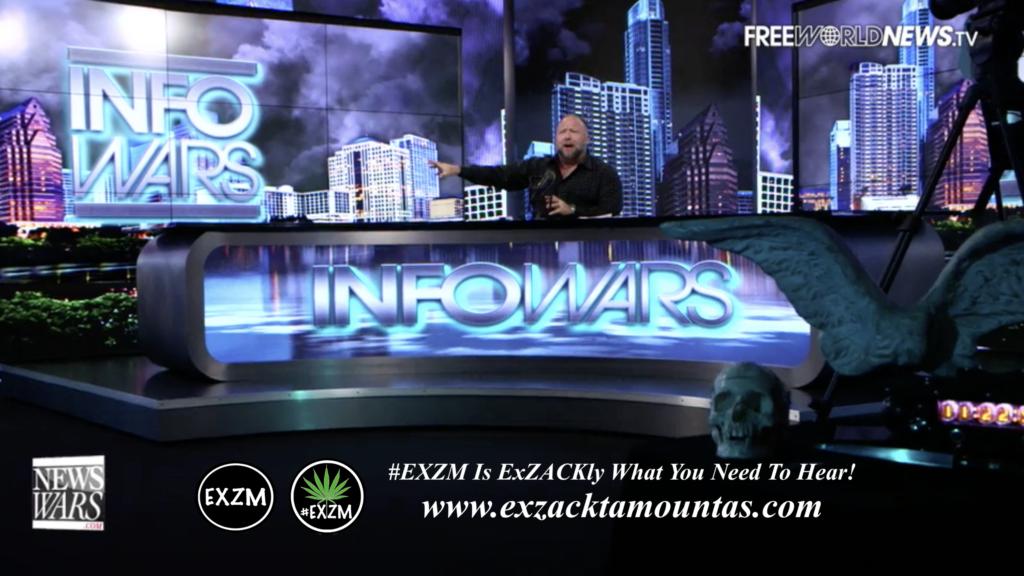 Alex Jones Live In Infowars Studio Human Skull Angel Wings Dagger EXZM Zack Mount June 3rd 2021 copy