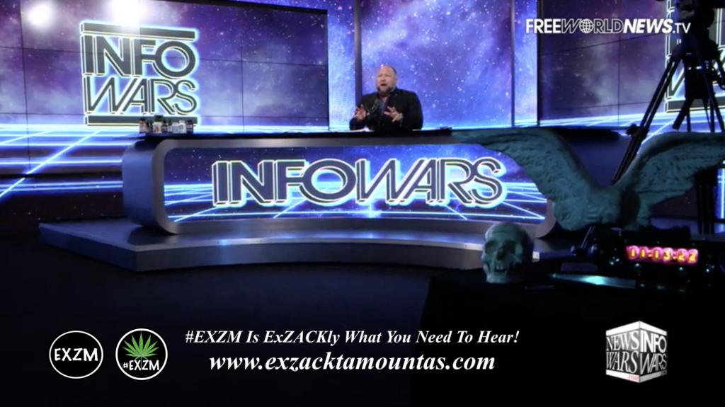 Alex Jones Live In Infowars Studio Human Skull Angel Wings Dagger EXZM Zack Mount June 4th 2021 copy