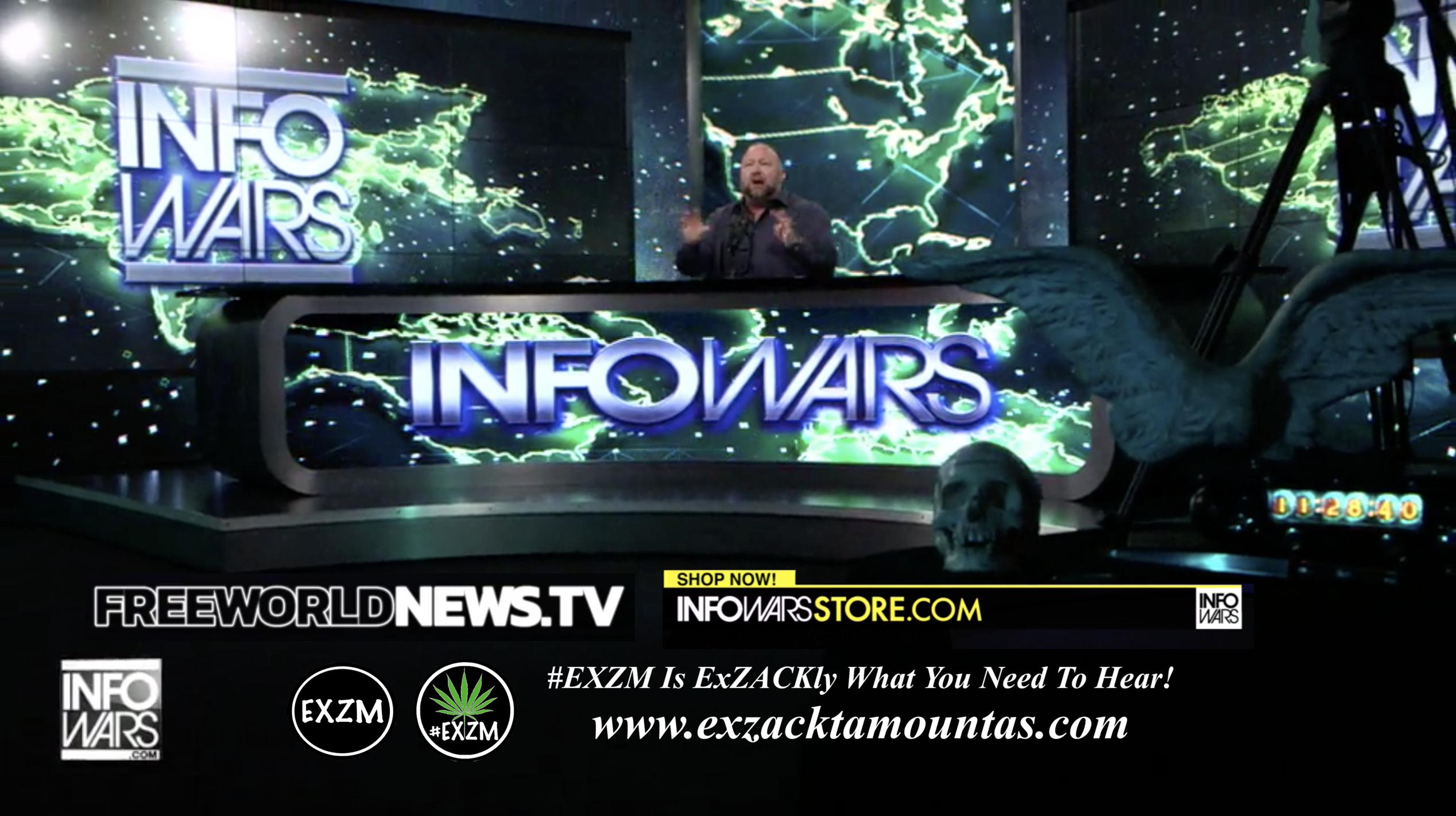 Alex Jones Live In Infowars Studio Human Skull Angel Wings Dagger Free World News TV EXZM Zack Mount June 23rd 2021 copy 2