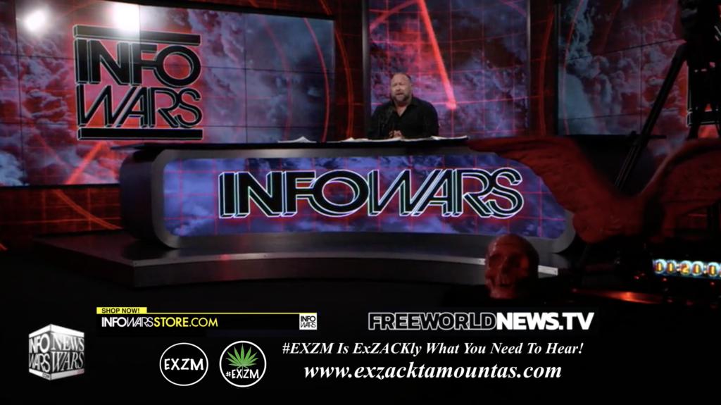 Alex Jones Live In Infowars Studio Human Skull Angel Wings Dagger Free World News TV EXZM Zack Mount June 24th 2021 copy