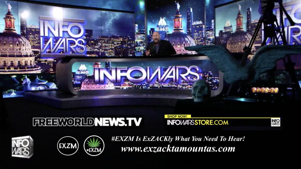Alex Jones Live In Infowars Studio Human Skull Angel Wings Dagger Free World News TV EXZM Zack Mount June 25th 2021 copy