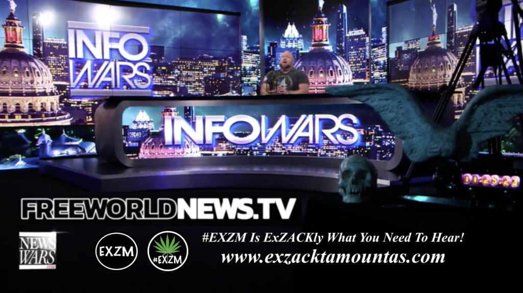 Alex Jones Live In Infowars Studio Human Skull Angel Wings Dagger Free World News TV EXZM Zack Mount June 9th 2021 copy