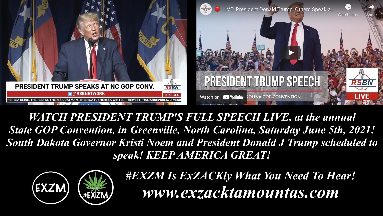 Official PRESIDENT TRUMPS FULL SPEECH LIVE North Carolina State GOP Convention Greenville North Carolina EXZM Zack Mount June 5th 2021