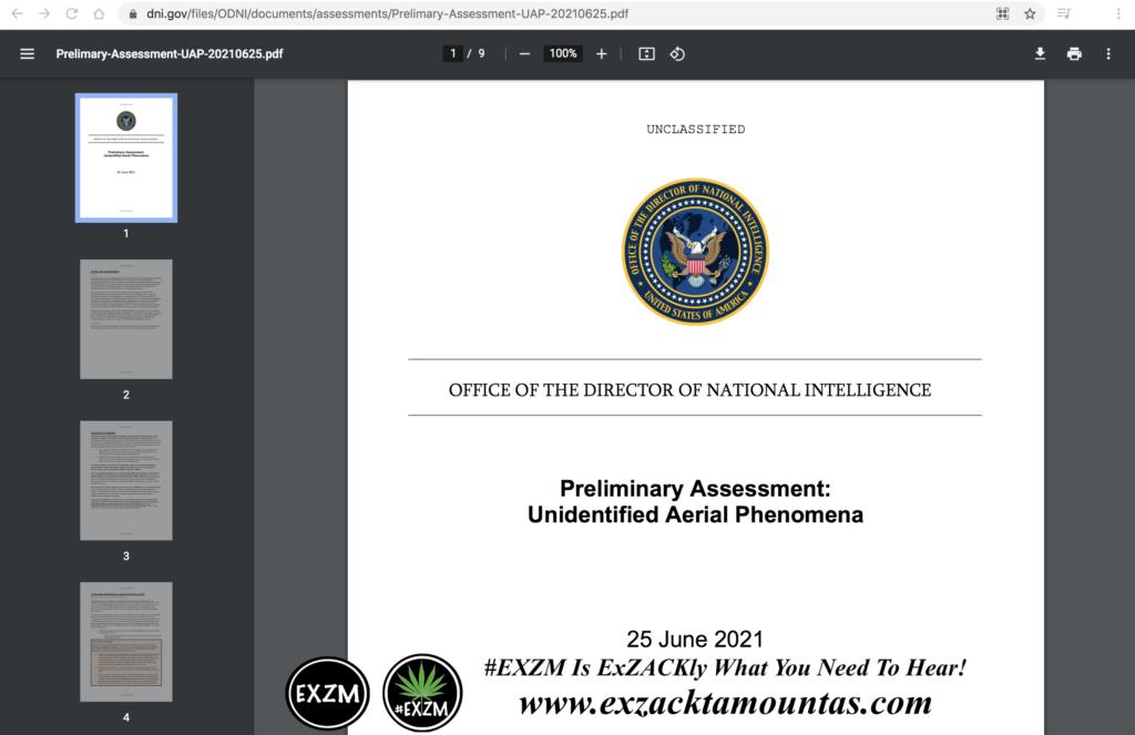 Preliminary Assessment Unidentified Aerial Phenomena EXZM Zack Mount June 25th 2021