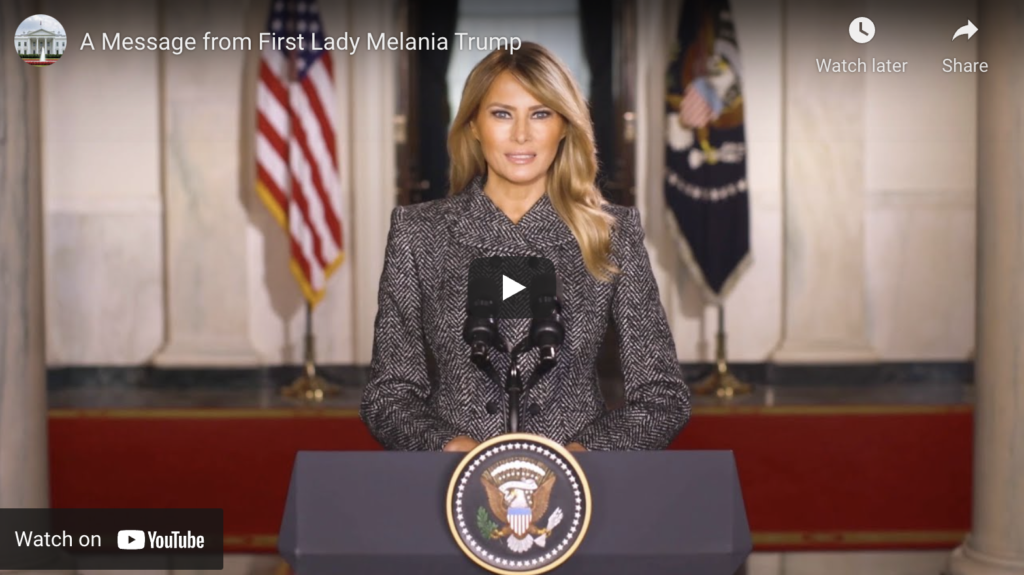 A Message from First Lady Melania Trump EXZM Zack Mount January 18th 2021