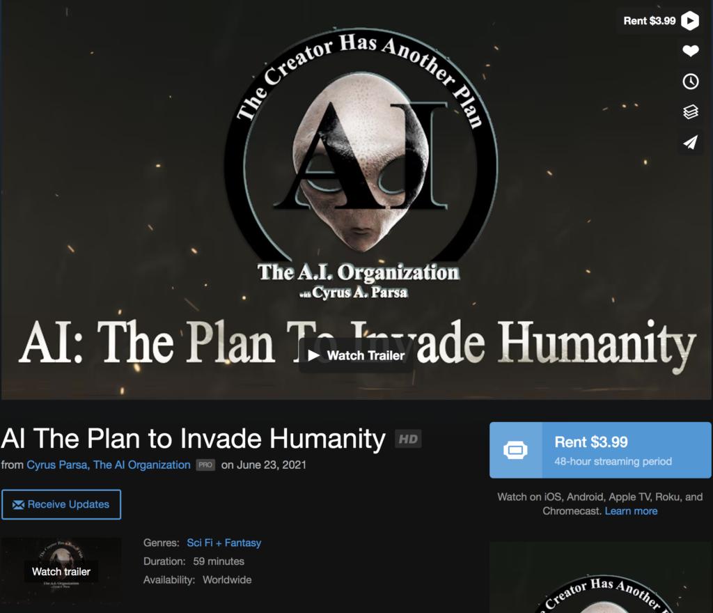 AI The Plan to Invade Humanity Cyrus Parsa, The AI Organization EXZM Zack Mount June 23rd 2021
