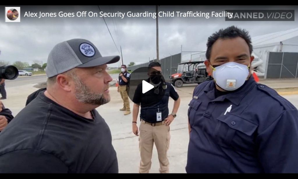 Alex Jones Goes Off On Security Guarding Child Trafficking Facility EXZM Zack Mount April 6th 2021