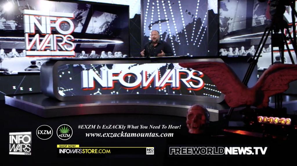 Alex Jones Live In Infowars Studio Free World News TV Human Skull Angel Wings Dagger EXZM Zack Mount July 15th 2021 copy