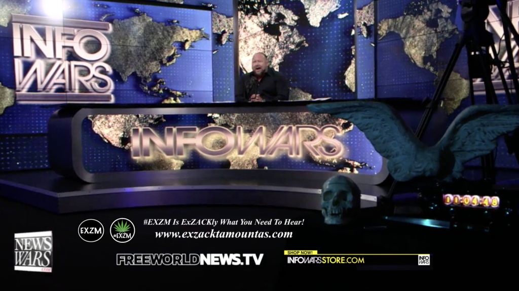 Alex Jones Live In Infowars Studio Human Skull Angel Wings Dagger Free World News TV EXZM Zack Mount July 21st 2021 copy