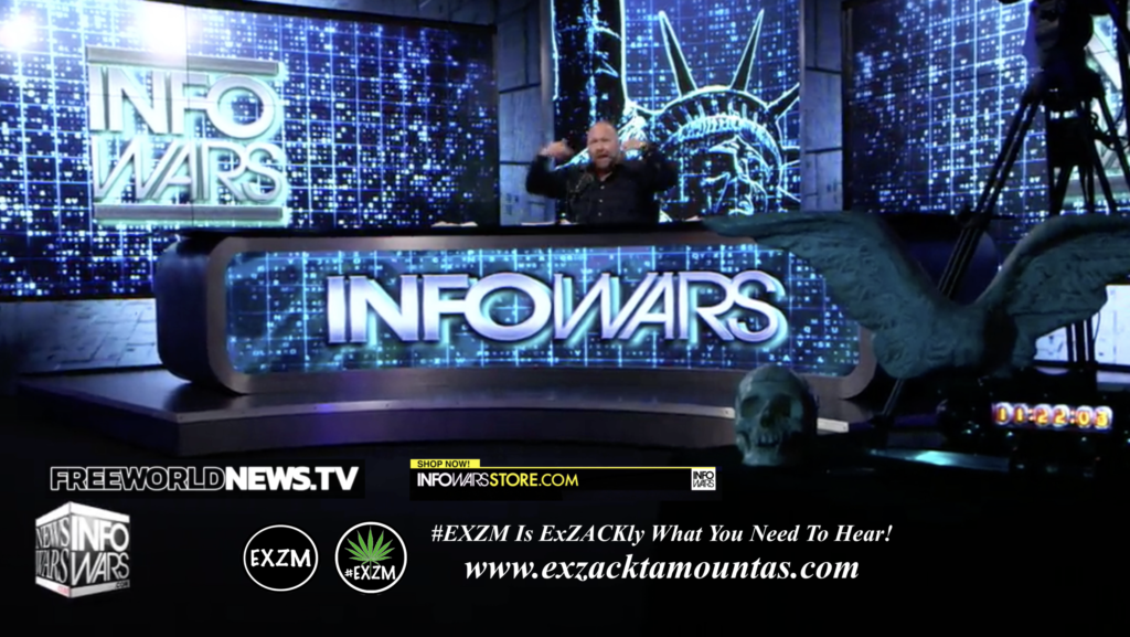 Alex Jones Live In Infowars Studio Human Skull Angel Wings Dagger Free World News TV EXZM Zack Mount July 9th 2021 copy