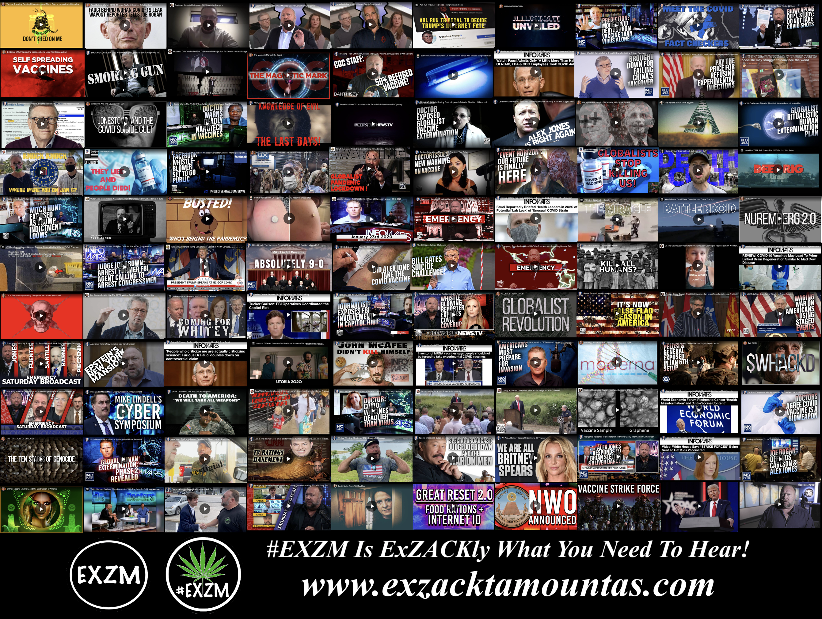 MOST WATCHED VIDEOS ON BANNED VIDEO DEEP STATE GLOBALISTS DEPOPULATION ELECTION FRAUD AND MUCH MORE EXZM Zack Mount July 19th 2021