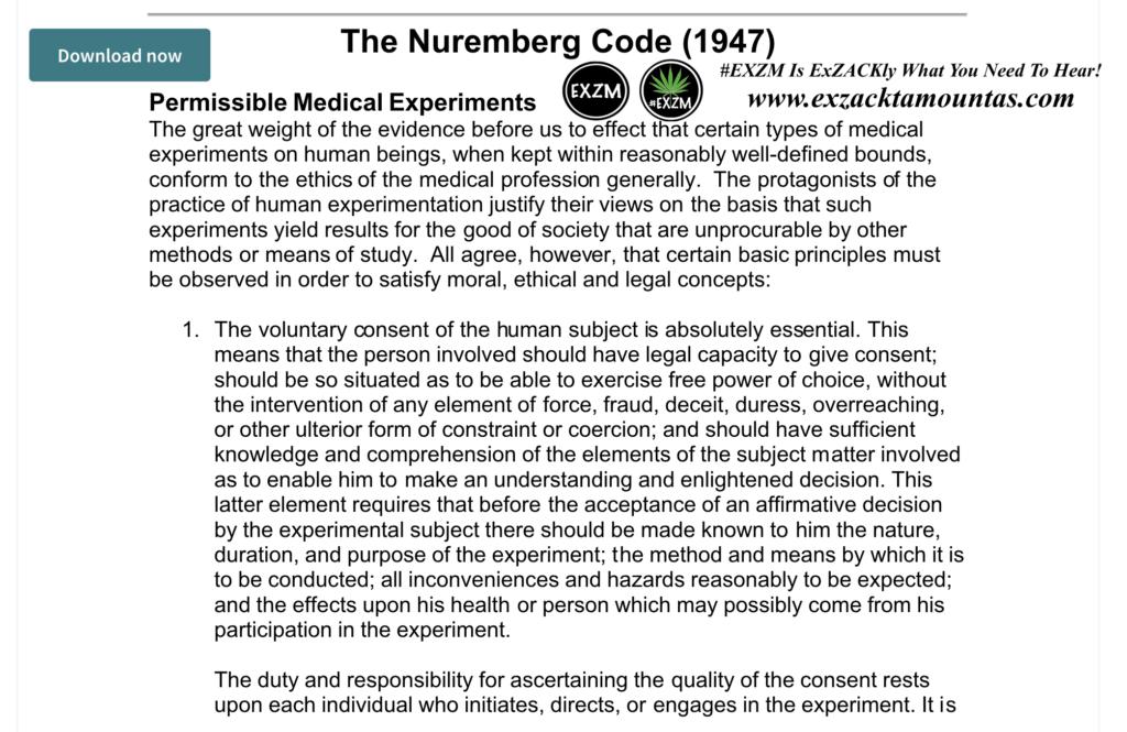 The Nuremberg Code 1947 EXZM Zack Mount December 5th 2020