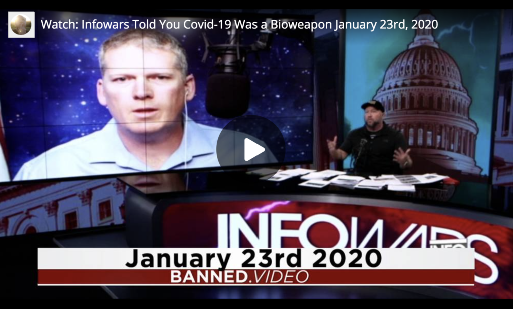 Watch Infowars Told You Covid19 Was a Bioweapon January 23rd 2020 EXZM Zack Mount June 4th 2021