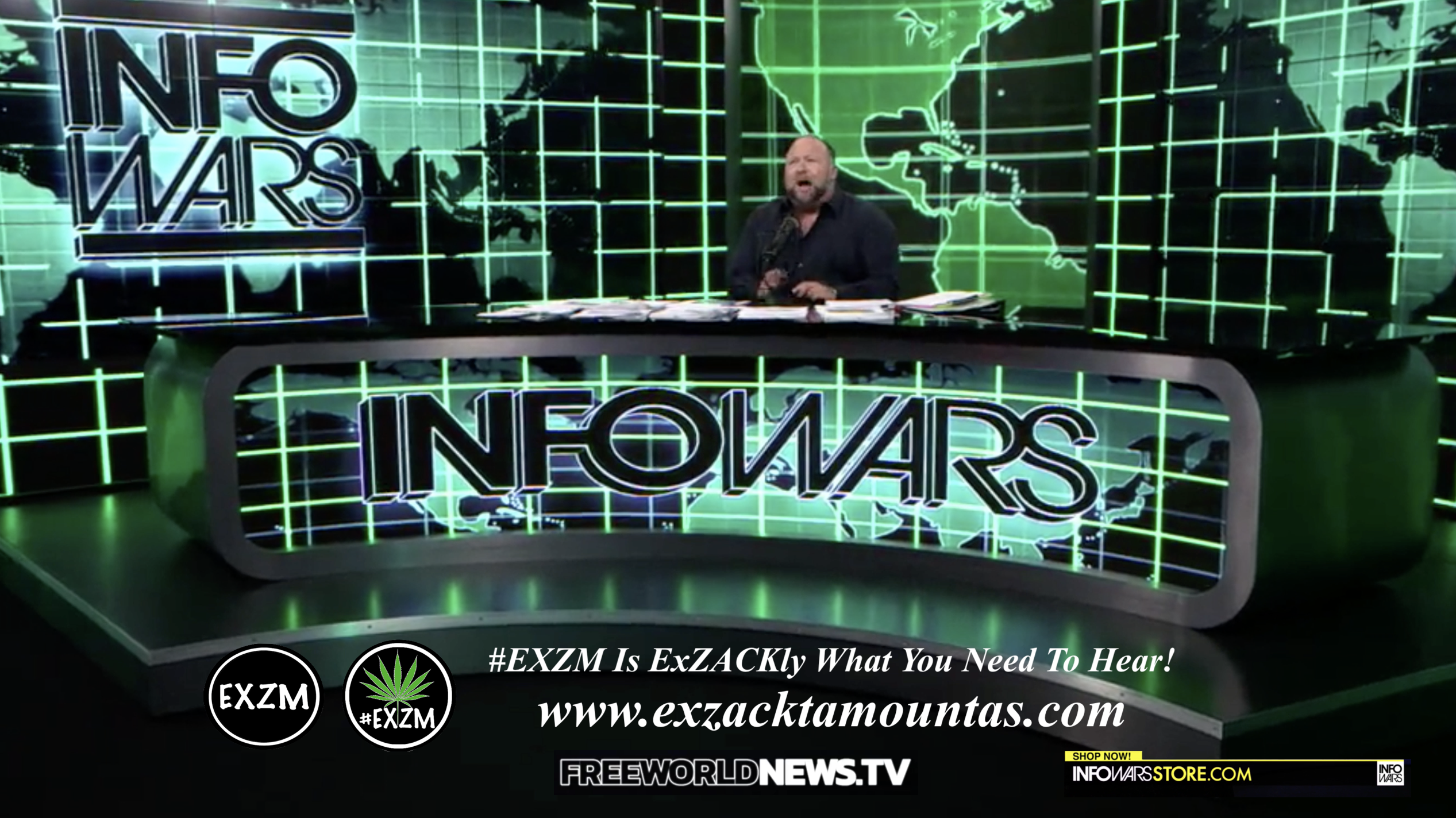 Alex Jones Live In Infowars Studio Free World News TV EXZM Zack Mount August 19th 2021 copy