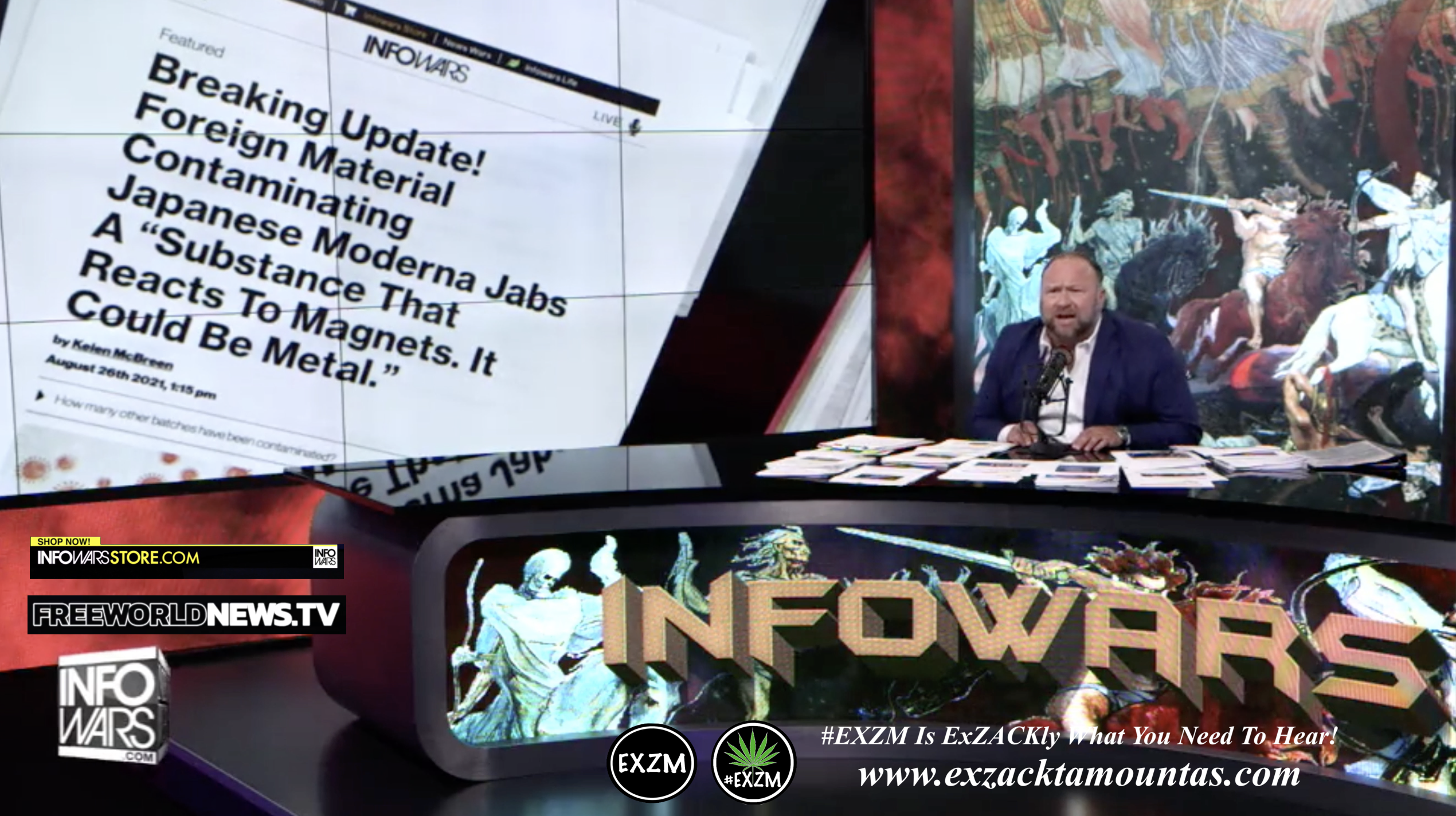 Alex Jones Live In Infowars Studio Free World News TV EXZM Zack Mount August 27th 2021 copy