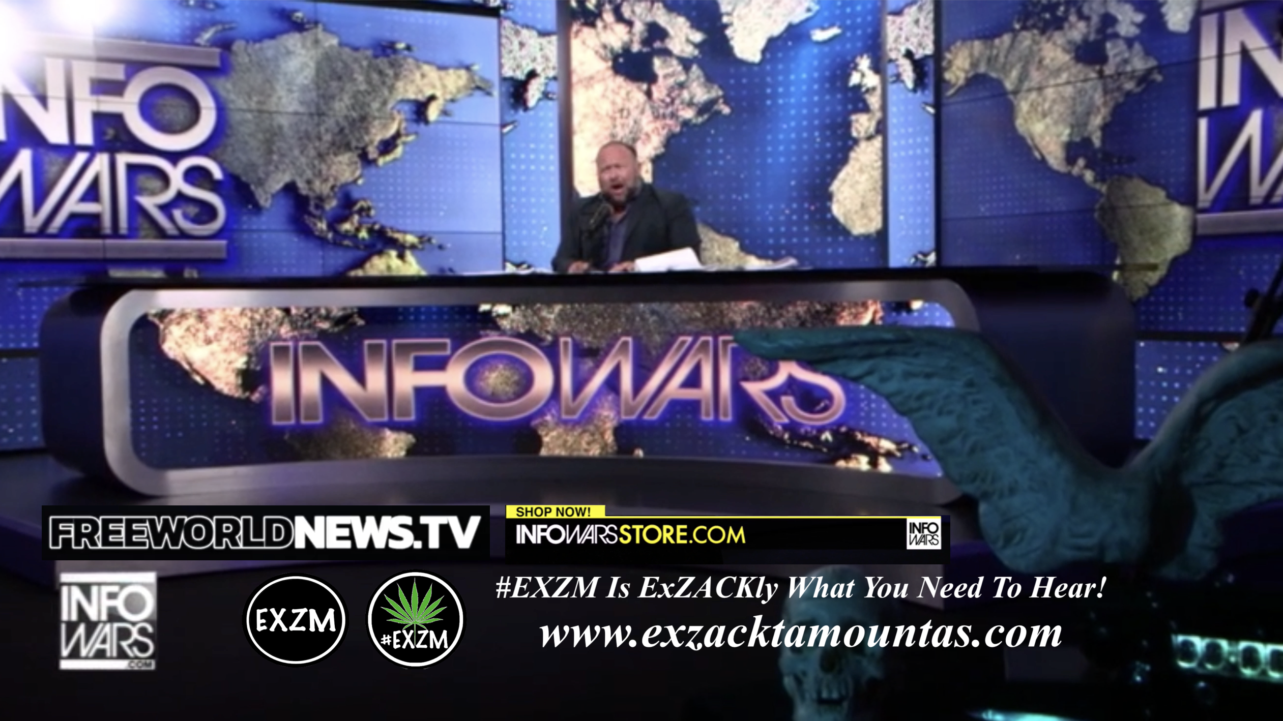 Alex Jones Live In Infowars Studio Free World News TV EXZM Zack Mount August 29th 2021 copy
