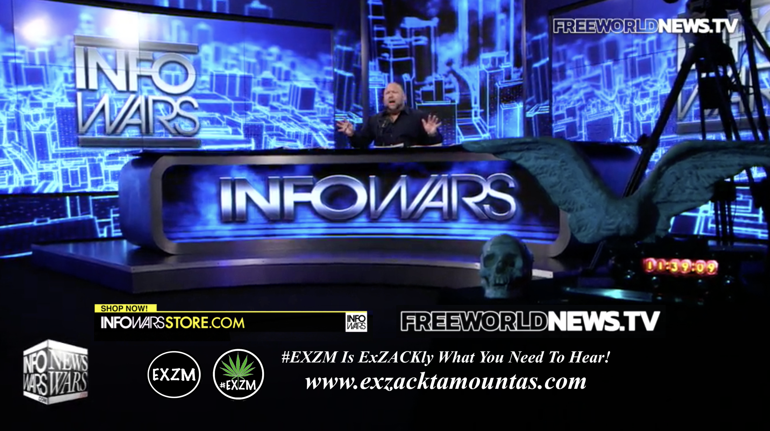 Alex Jones Live In Infowars Studio Free World News TV EXZM Zack Mount August 3rd 2021 copy
