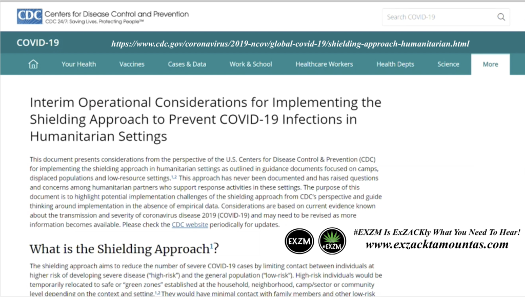 Interim Operational Considerations for Implementing the Shielding Approach to Prevent COVID19 Infections in Humanitarian Settings CDC July 26th 2020 EXZM Zack Mount August 10th 2021