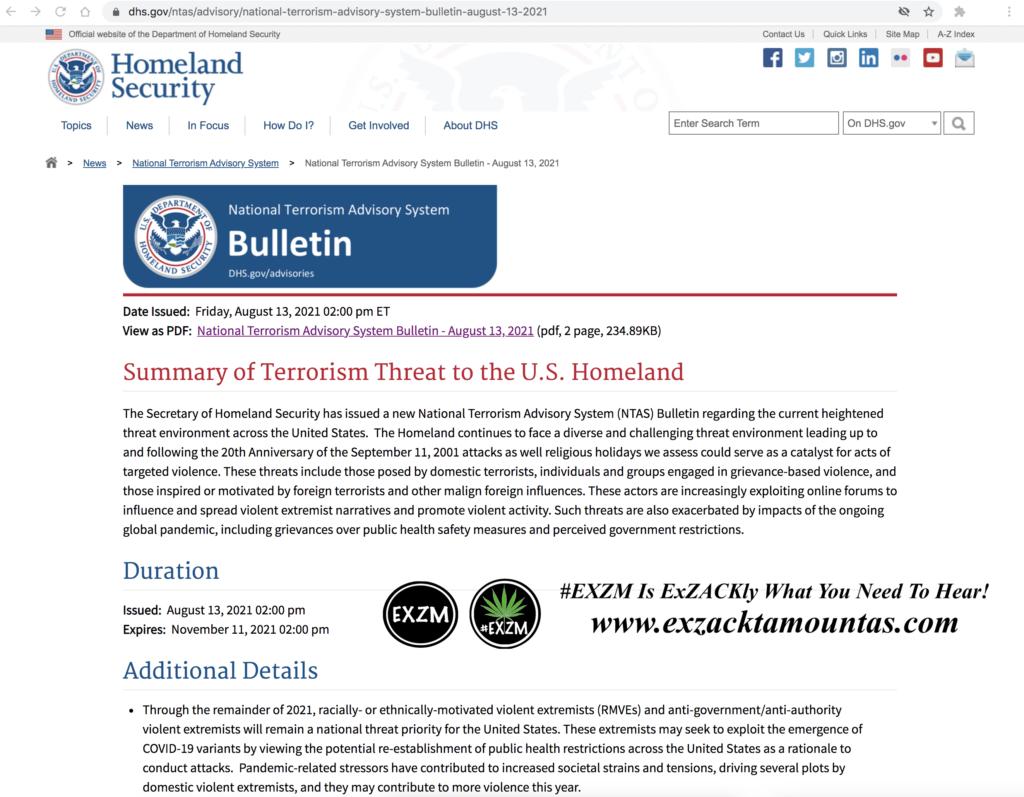 Summary of Terrorism Threat to the U.S. Homeland EXZM Zack Mount August 13th 2021 copy