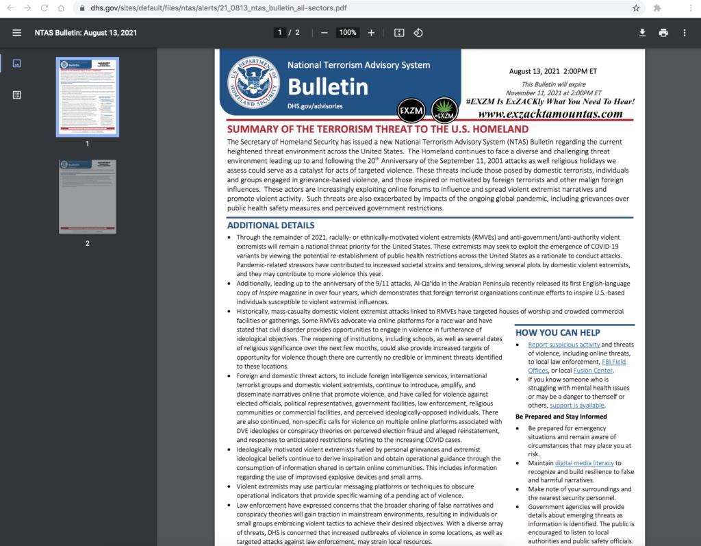 Summary of Terrorism Threat to the U.S. Homeland pdf EXZM Zack Mount August 13th 2021 copy