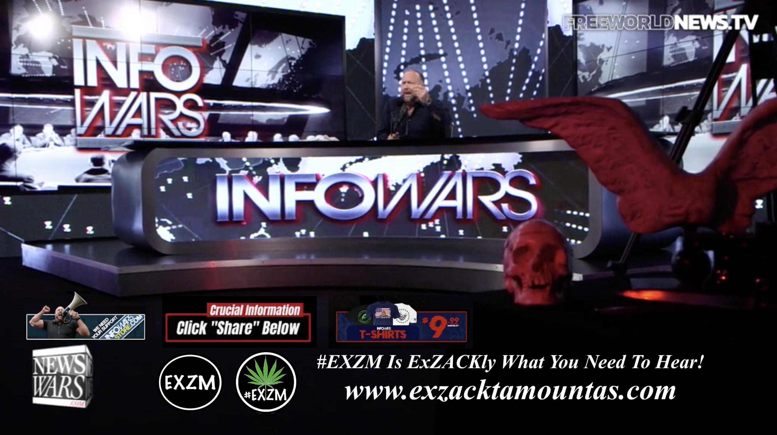 Alex Jones Live In Infowars Studio Free World News TV Human Skull Dagger Angel Wings EXZM Zack Mount September 23rd 2021 copy