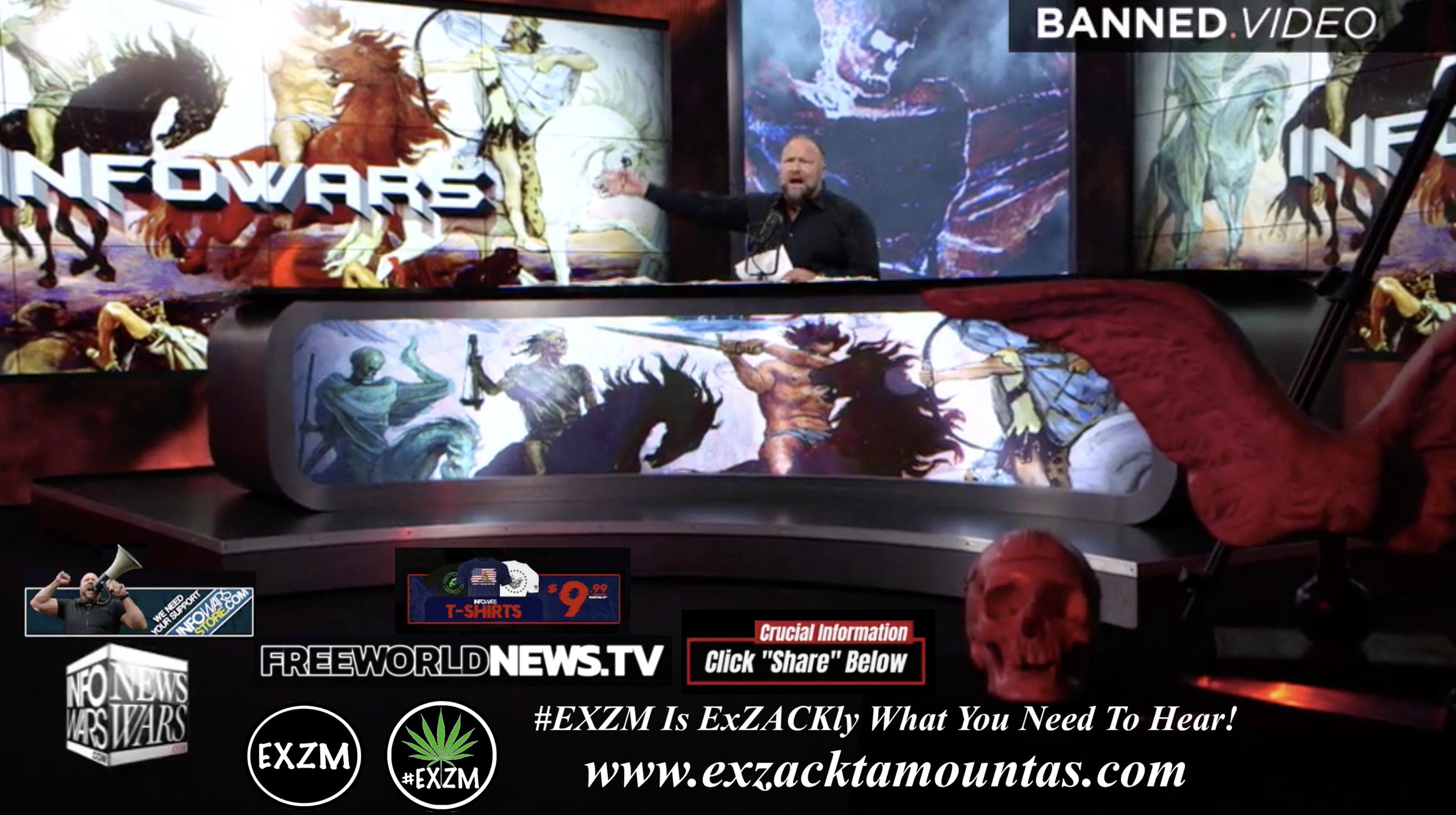 Alex Jones Live In Infowars Studio Free World News TV Human Skull Dagger Angel Wings EXZM Zack Mount September 24th 2021 copy