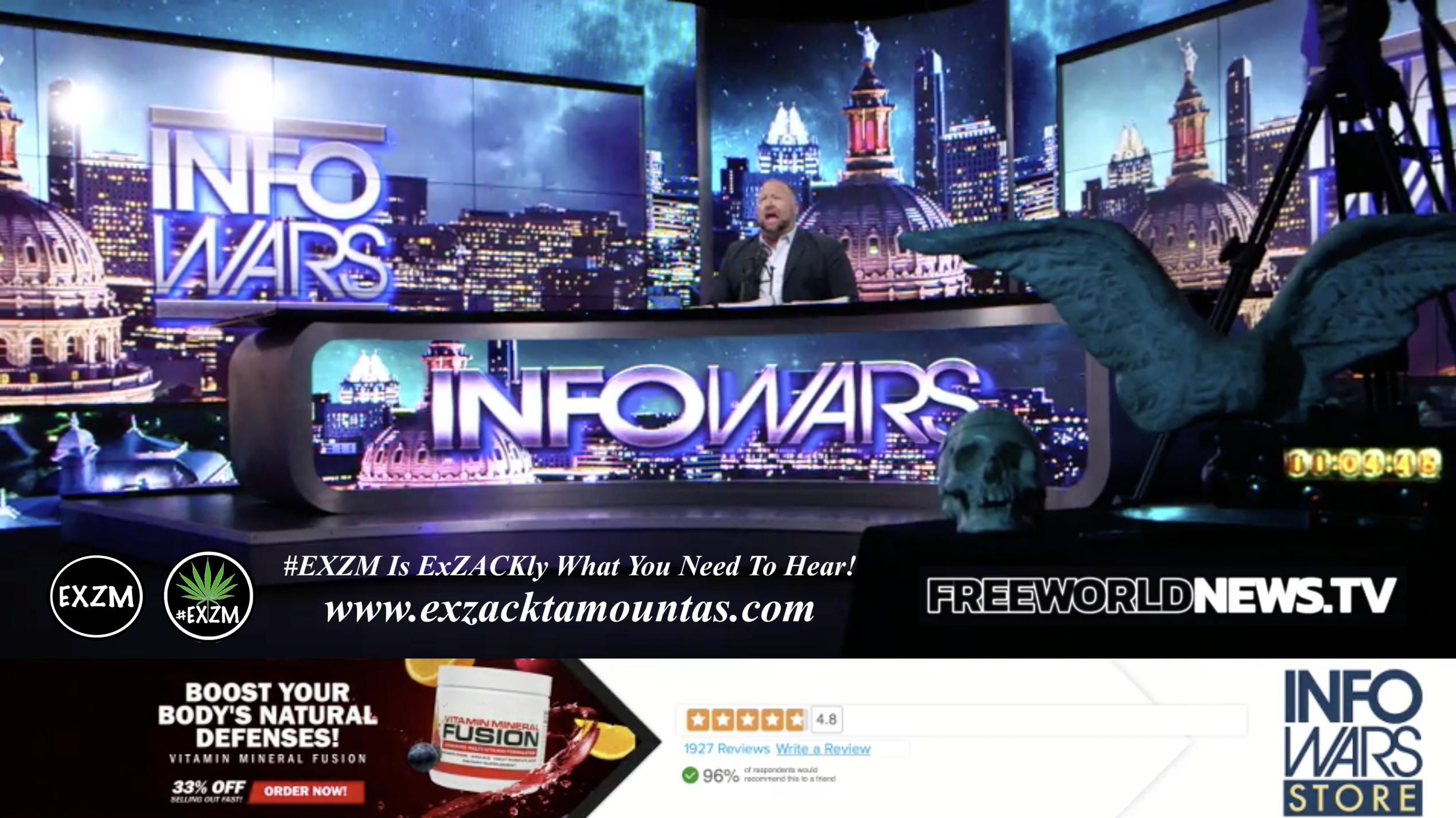 Alex Jones Live In Infowars Studio Human Skull Angel Wings Dagger Free World News TV EXZM Zack Mount September 10th 2021 copy