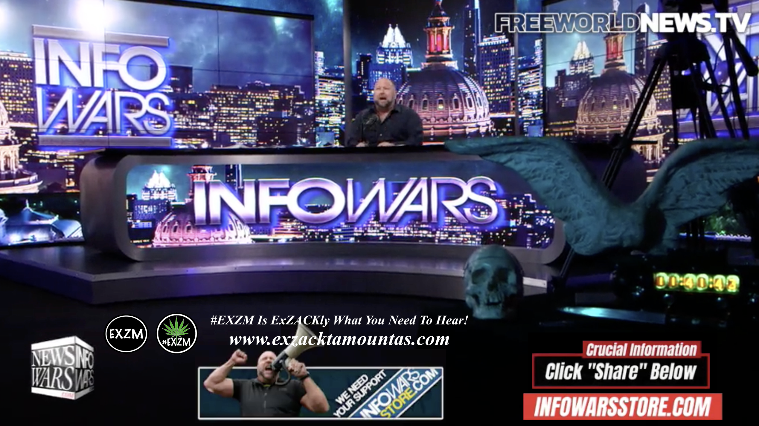 Alex Jones Live In Infowars Studio Human Skull Angel Wings Dagger Free World News TV EXZM Zack Mount September 14th 2021 copy