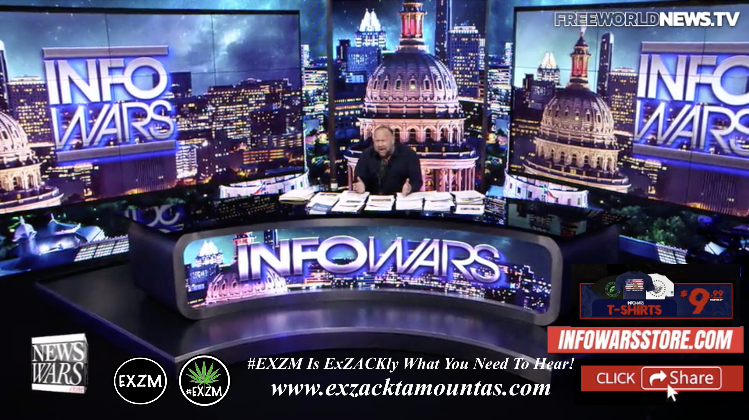 Alex Jones Live In Infowars Studio Free World News TV EXZM Zack Mount October 4th 2021 copy