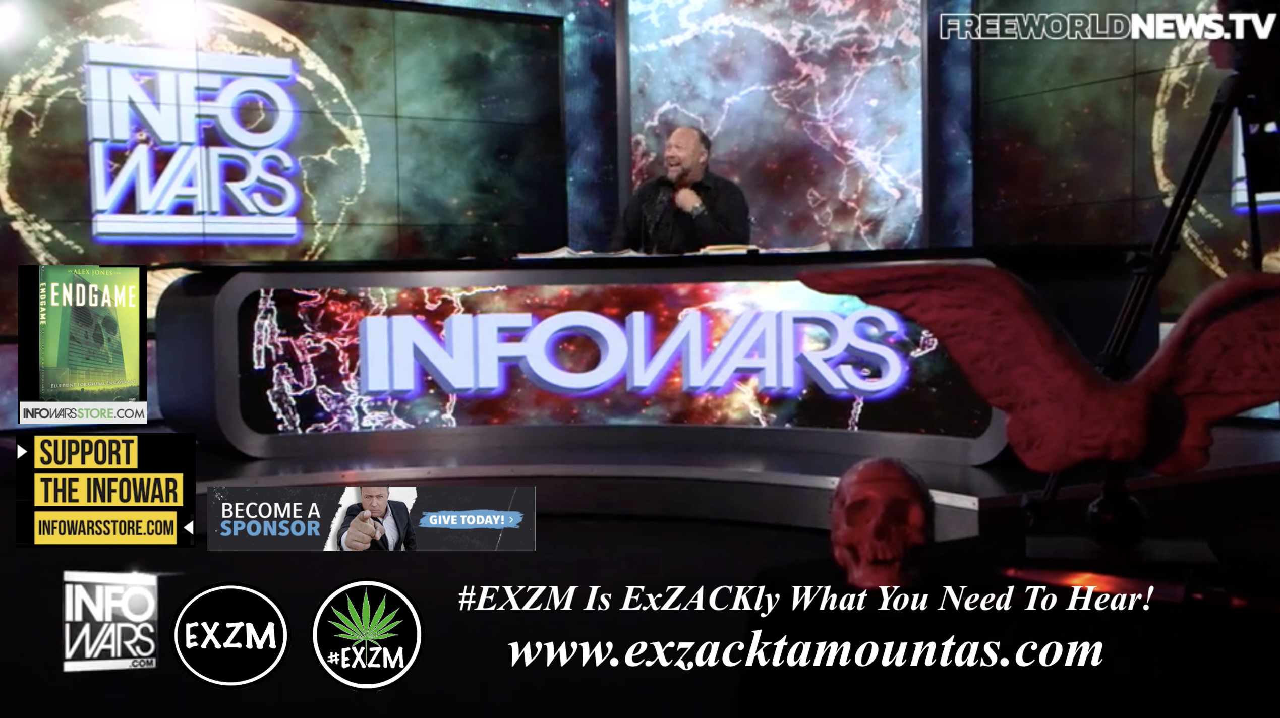 Alex Jones Live In Infowars Studio Human Skull Angel Wings Dagger Free World News TV EXZM Zack Mount October 20th 2021 copy
