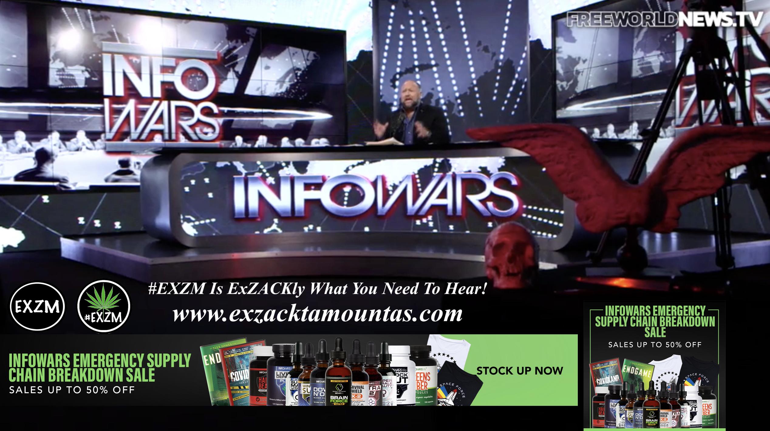 Alex Jones Live In Infowars Studio Human Skull Angel Wings Dagger Free World News TV EXZM Zack Mount October 5th 2021 copy