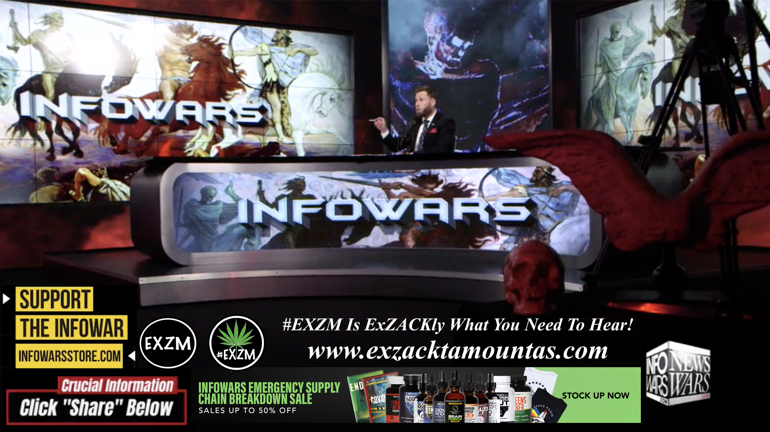 Alex Jones Owen Shroyer Live In Infowars Studio Human Skull Angel Wings Dagger Free World News TV EXZM Zack Mount October 11th 2021 copy
